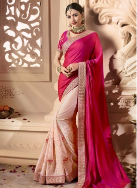 Faux Georgette Half N Half Trendy Saree For Festival