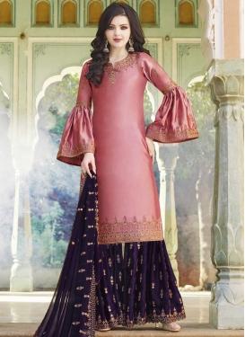 Faux Georgette Hot Pink and Purple Embroidered Work Sharara Salwar Kameez