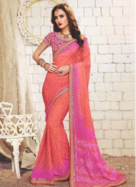 Faux Georgette Hot Pink and Salmon Trendy Saree