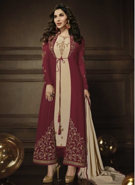 Faux Georgette Jacket Style Floor Length Suit