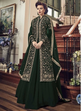 Faux Georgette Jacket Style Long Length Suit For Ceremonial