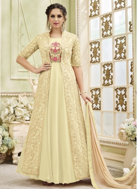 Faux Georgette Jacket Style Salwar Suit For Festival
