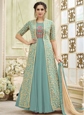 Faux Georgette Jacket Style Suit
