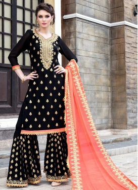 Faux Georgette Karachi Work Sharara Salwar Suit