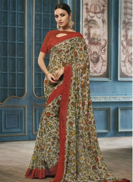 Faux Georgette Lace Work Beige and Red Contemporary Saree For Ceremonial
