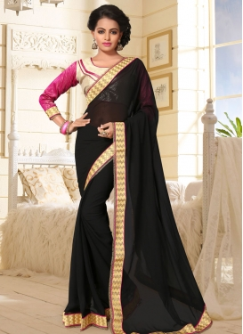 Faux Georgette Lace Work Black Trendy Classic Saree For Casual