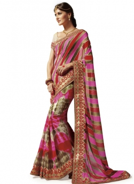 Faux Georgette Lace Work Contemporary Saree