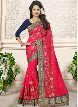 Faux Georgette Lace Work Designer Contemporary Saree