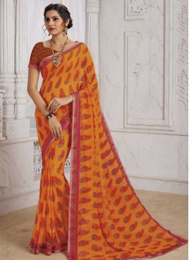 Faux Georgette Lace Work Designer Traditional Saree