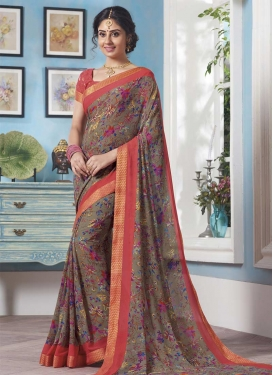 Faux Georgette Lace Work Grey and Salmon Contemporary Saree