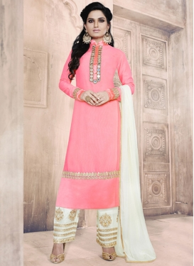 Faux Georgette Lace Work Pant Style Classic Salwar Suit