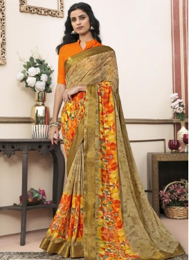 Faux Georgette Lace Work Traditional Saree