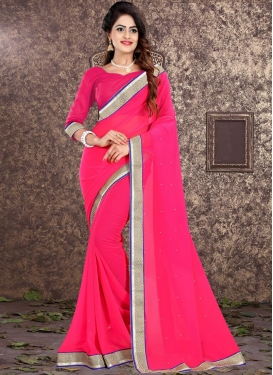 Faux Georgette Lace Work Trendy Classic Saree