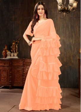 Faux Georgette Lace Work Trendy Designer Saree