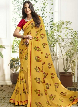 Faux Georgette Lace Work Trendy Saree