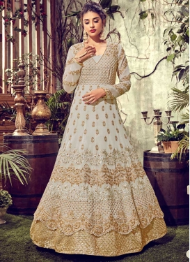 Faux Georgette Layered Designer Anarkali Suit