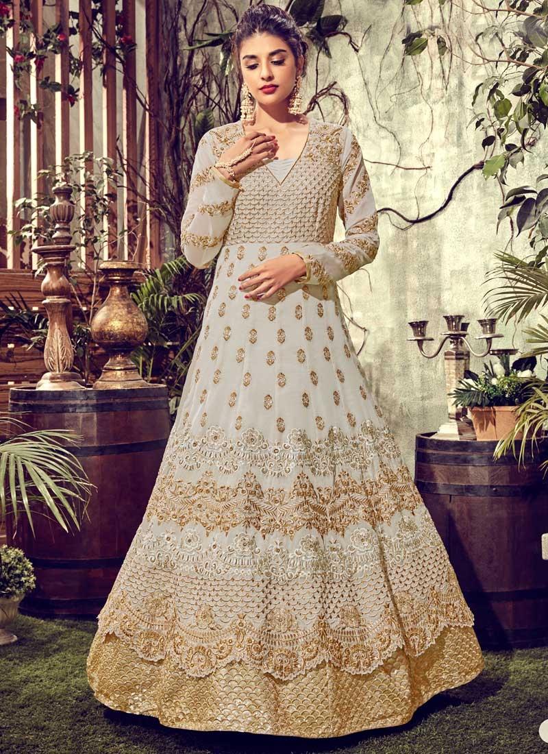 Faux Georgette Layered Designer Anarkali Suit