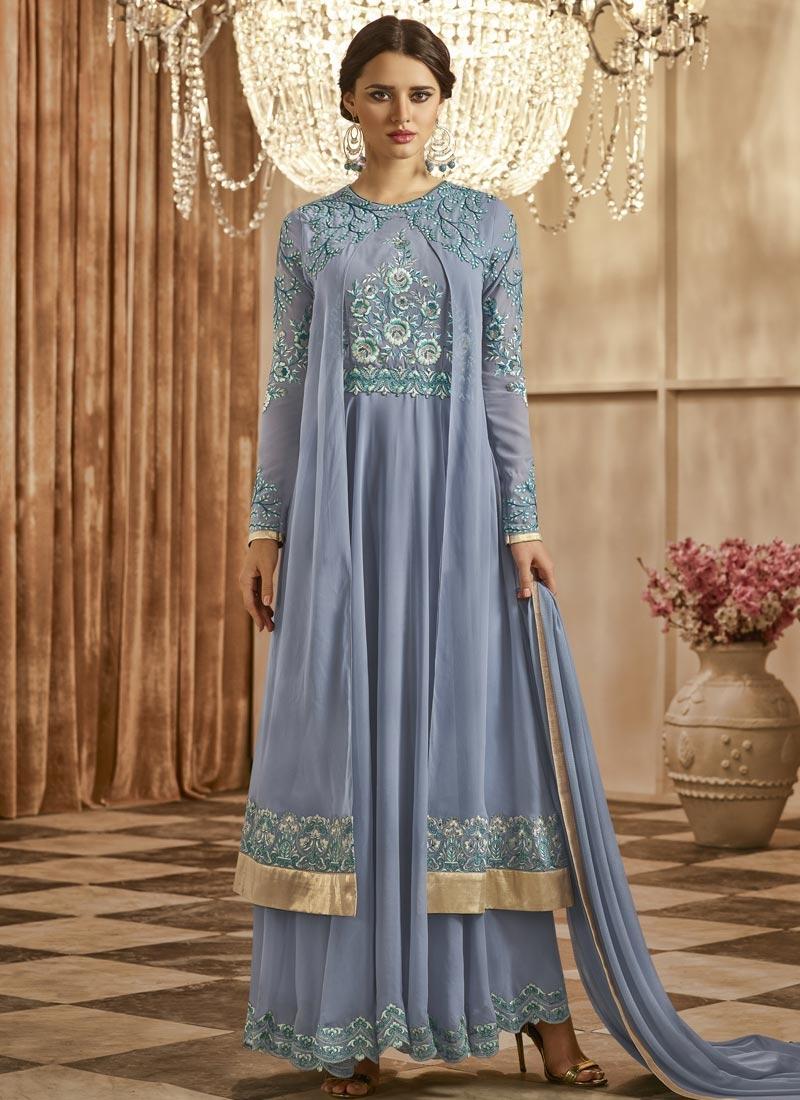 Faux Georgette Layered Designer Salwar Kameez