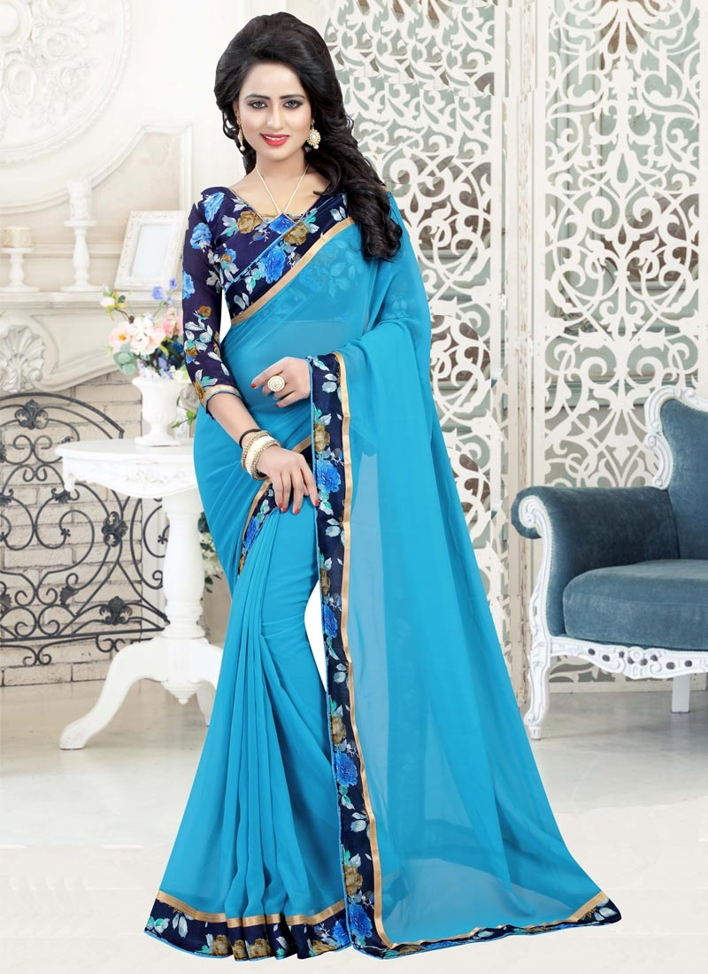 Faux Georgette Light Blue and Navy Blue Digital Print Work Classic Saree
