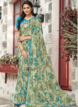 Faux Georgette Light Blue and Sea Green Digital Print Work Traditional Designer Saree