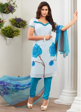 Faux Georgette Light Blue and White Digital Print Work Punjabi Churidar Salwar Suit