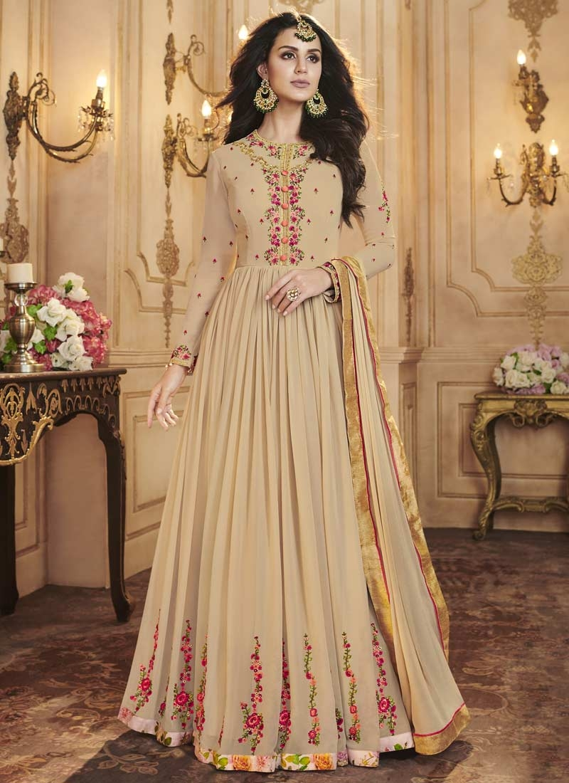 Faux Georgette Long Length Designer Anarkali Suit