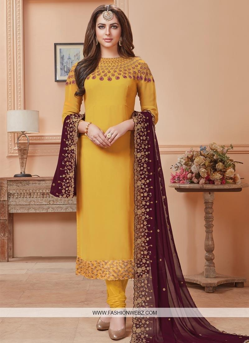 Faux Georgette Long Length Pakistani Salwar Suit For Festival