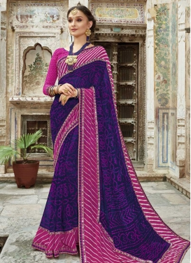 Faux Georgette Magenta and Navy Blue Trendy Classic Saree For Ceremonial