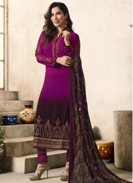 Faux Georgette Magenta and Wine Trendy Pakistani Salwar Kameez