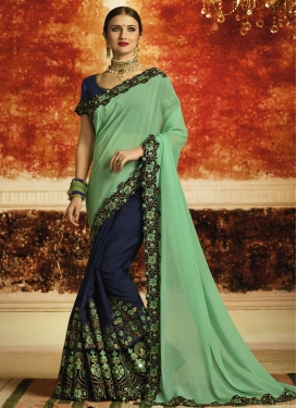 Faux Georgette Mint Green and Navy Blue Embroidered Work Half N Half Trendy Saree