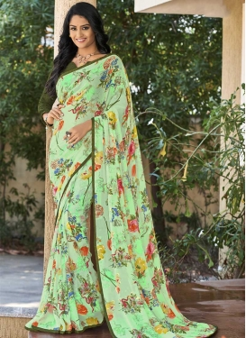 Faux Georgette Mint Green and Olive Digital Print Work Traditional Designer Saree