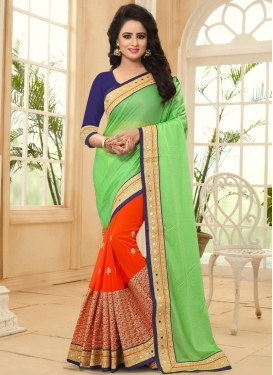 Faux Georgette Mint Green and Orange Embroidered Work Designer Half N Half Saree