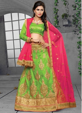 Faux Georgette Mint Green and Rose Pink Trendy A Line Lehenga Choli