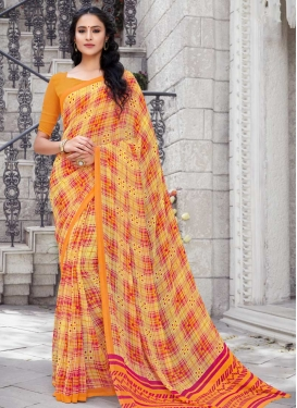 Faux Georgette Mustard and Yellow Classic Saree