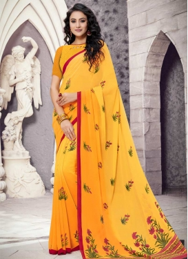 Faux Georgette Mustard and Yellow Traditional Saree