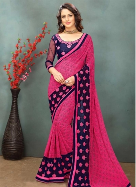 Faux Georgette Navy Blue and Rose Pink Embroidered Work Classic Saree