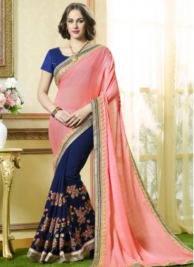 Faux Georgette Navy Blue and Salmon Half N Half Trendy Saree
