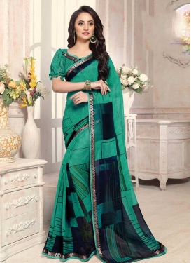 Faux Georgette Navy Blue and Sea Green Digital Print Work Trendy Classic Saree