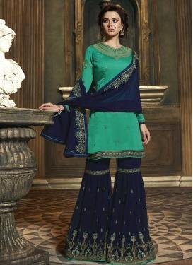 Faux Georgette Navy Blue and Sea Green Sharara Salwar Kameez