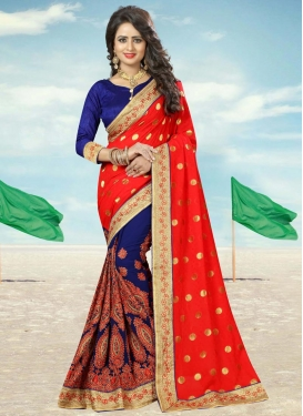 Faux Georgette Navy Blue and Tomato Booti Work Half N Half Designer Saree