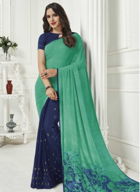 Faux Georgette Navy Blue and Turquoise Half N Half Trendy Saree For Casual