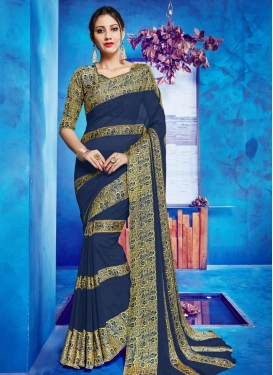 Faux Georgette Navy Blue and Yellow Print Work Contemporary Style Saree