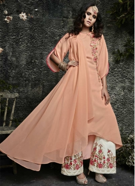 Faux Georgette Off White and Peach Embroidered Work Asymmetrical Designer Salwar Suit