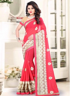 Faux Georgette Off White and Rose Pink Classic Saree For Ceremonial