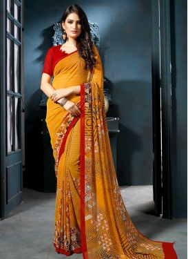 Faux Georgette Orange and Red Digital Print Work Designer Contemporary Saree
