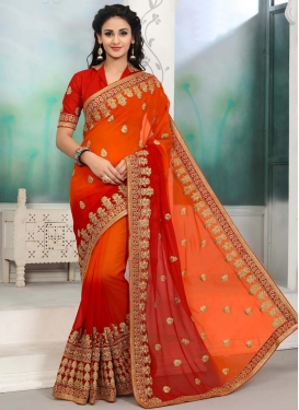 Faux Georgette Orange and Red Embroidered Work Trendy Classic Saree