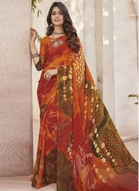 Faux Georgette Orange and Red Traditional Saree