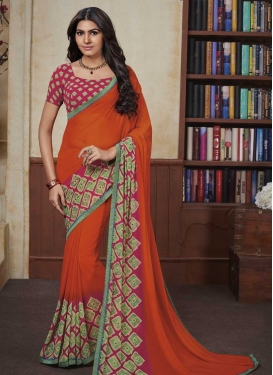 Faux Georgette Orange and Rose Pink Contemporary Saree For Casual