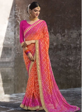 Faux Georgette Orange and Rose Pink Contemporary Style Saree
