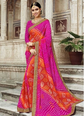 Faux Georgette Orange and Rose Pink Designer Contemporary Saree